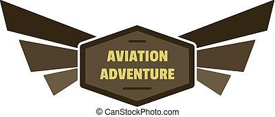 Aviation adventure icon logo, flat style