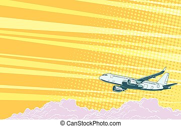 Aviation aircraft flying above the clouds, vector background