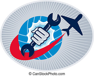 illustration of a aviation mechanic hand holding a spanner with airplane flying over globe set inside oval