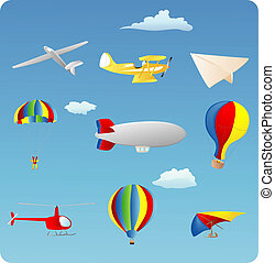 Aviation - aviation themed set of various types of aircraft