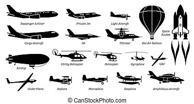 aviation, avion, avion, avion, différent, liste, icons., avion