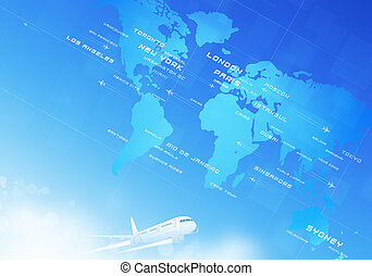 Aviation Background - World aviation directions all over the...