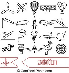 aviation big set of outline simple icons eps10