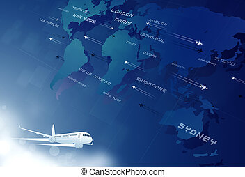 aviation blue background - aviation background with many...