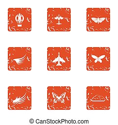 Aviation center icons set, grunge style