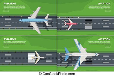Aviation Conceptual Flat Style Web Banner - Aviation...