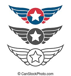 Aviation emblem set, badges or logos