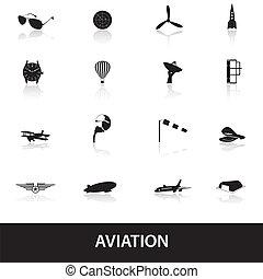 aviation, ensemble, eps10, icônes