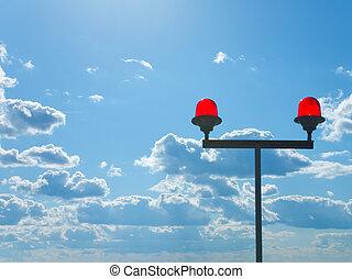 Aviation Hazard Lights - Red warning lights on top of a...
