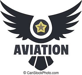 Aviation icon logo, flat style