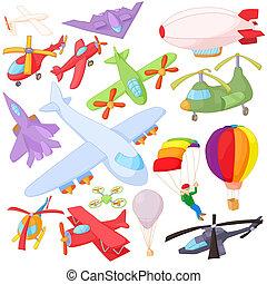 Aviation Icon Set, cartoon style