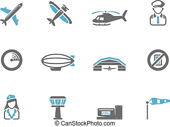Aviation icons in duo tone colors.