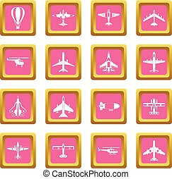 Aviation icons pink