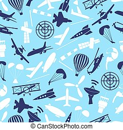 aviation icons set blue seamless pattern eps10
