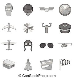 Aviation icons set, monochrome style