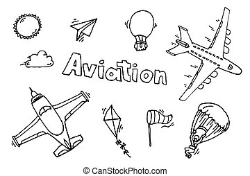Aviation icons set.