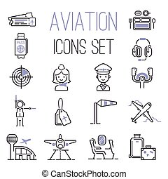 Aviation icons vector set. - Aviation icons vector set ...