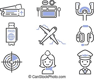 Aviation icons vector set.