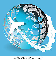 aviation - Illustration, plane on blue globe on blue ...