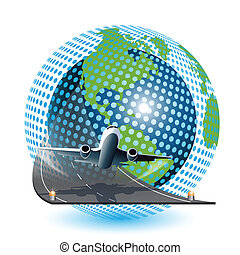 Aviation - Illustration, plane on blue globe on white ...