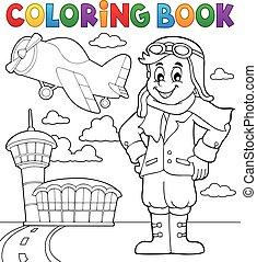 aviation, livre coloration