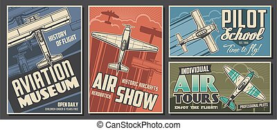 Aviation museum, flight school and air tour banner - ...