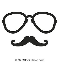 aviation nerd glasses and mustaches. Vector hipster Illustration nerd isolated background