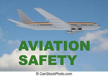 Aviation Safety concept - 3D illustration of 'AVIATION ...