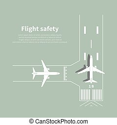 Aviation safety infographic. Scene 3. Vector illustration.