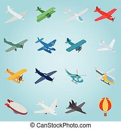 Aviation set icons, isometric 3d style