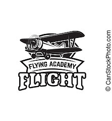 Aviation training center emblem template with retro airplane. Design element for logo, label, emblem, sign.