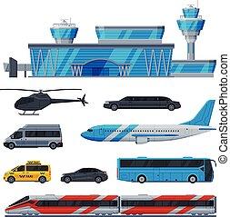 Aviation Transport Terminal, Airport Vehicles Set, Flight Service Transportation Flat Vector Illustration