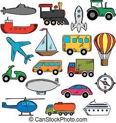 Aviation, transportation and ship icons