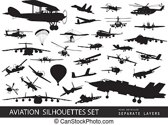 Aviation - Vintage and modern aircraft silhouettes ...