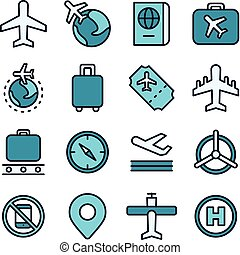aviation, voyage, concept, icône, air