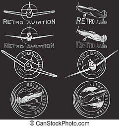 aviaton, セット, グランジ, 型, ラベル, ベクトル, レトロ
