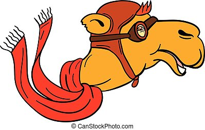 Aviator Camel Goggles Scarf Cartoon - Cartoon style...