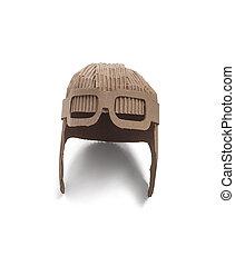 aviator hat - photo of aviator hat made of cardboards. Pilot...
