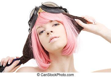 aviator - pink hair girl in aviator helmet over white