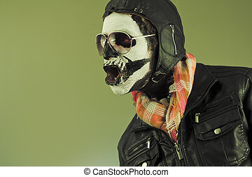 Aviator Skull - Amazed aviator with face painted as human...