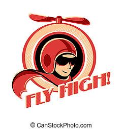 Aviator sticker - Fly high! retro aviator sticker with...