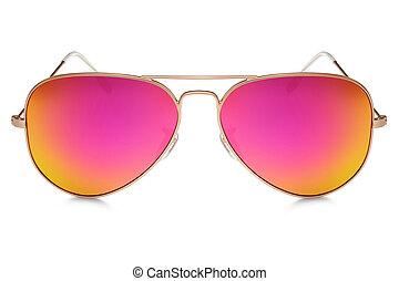 aviatore, occhiali da sole, isolato, bianco, fondo