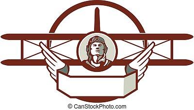 aviatore, spad, 1, retro, biplano, mondo, cerchio, guerra,...
