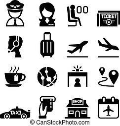 aviazione, aeroporto, &, icona
