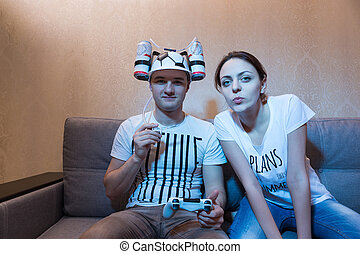 avide, sien, football, goofy, petite amie, chapeau, supporter