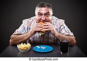 avido, uomo, mangiare, hamburger