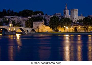 Avignon at night, Provence, France