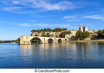 Avignon Bridge with Popes Palace, Pont Saint-Bénezet,...