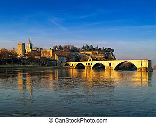 Avignon, France - The Popes' palace and the St.-Benezet...