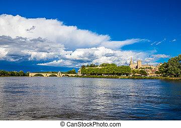 avignon, francia, -, avignon, río, ródano, catedral